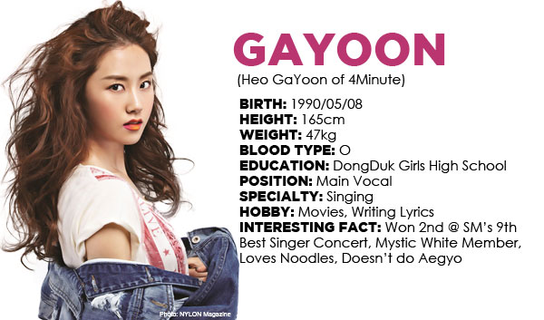 heo gayoon, gayoon, gayoon birthday, 4minute, 4minute gayoon, gayoon profile, gayoon fun facts, gayoon trivia, 4minute fun facts, kpop people, 4minute info, gayoon info, gayoon past pictures, gayoon baby