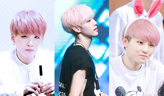 kpop male idols pink hair woozi suga mark