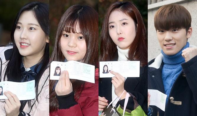 kpop college exams, korean college exams 2016, kpop idol high school students, kpop students, kpop idols uniform, kpop idols sooneung