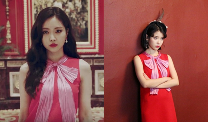 sooyoung, snsd, snsd soo young, sooyoung ivy, the same clothes different styles, seolli, krystal, seolli krystal, son naeun, son naeun gucci, iu, iu gucci, iu son naeun,