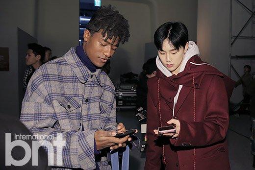 JBJ Visits Kwon HyunBin Modeling at the 2018 Seoul Fashion Week
