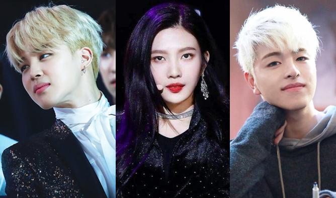 kpop idols blonde, kpop idols black hair, bts jimin, jimin, bts, joy, red velvet, red velvet joy, ikon, ikon june,