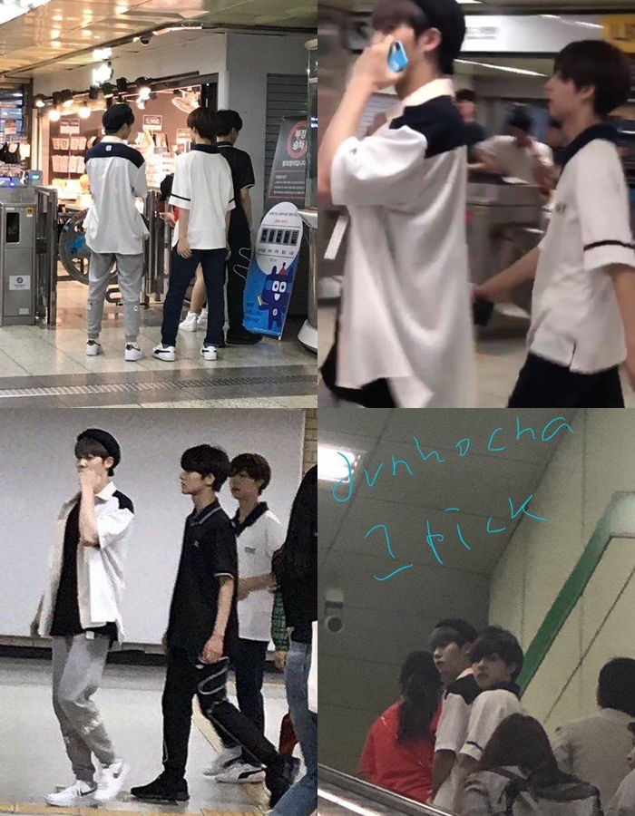 """""""Produce X 101"""" Woollim Trainees Hwang YunSeong, Cha JunHo & Kim DongYun Spotted Visiting Their Ads"""