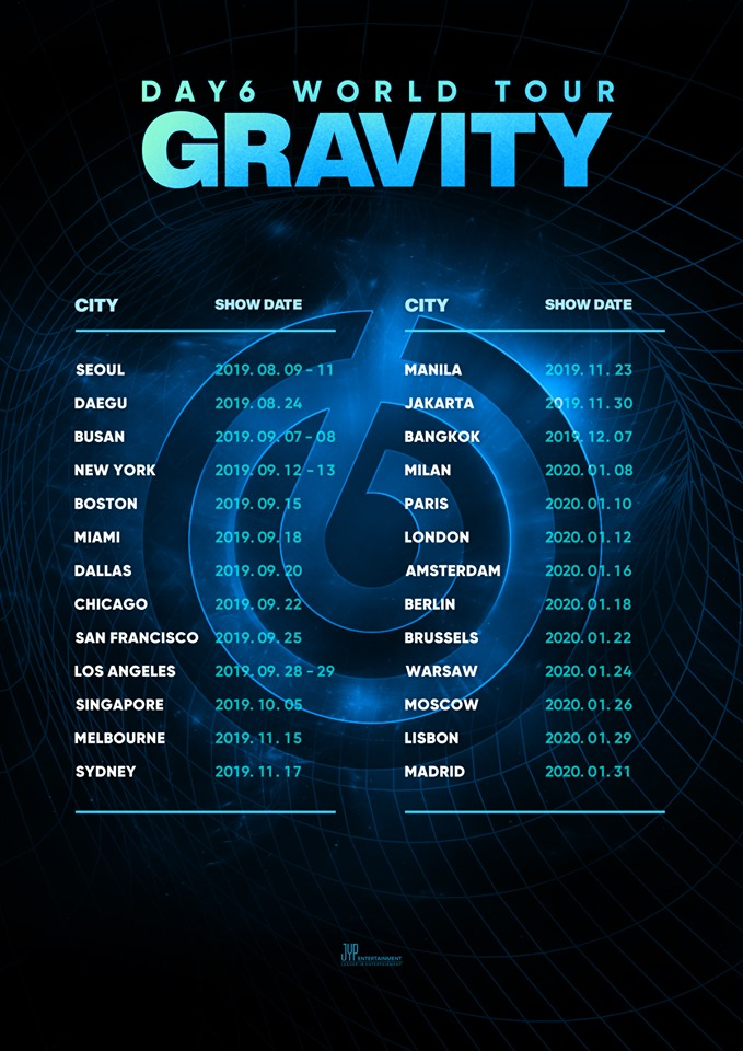 Bts Us Tour 2020.Day6 World Tour Gravity Cities And Ticket Details Kpopmap