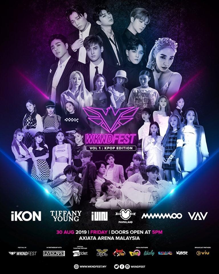 wkndfest, wkndfest 2019, wkndfest poster, wkndfest lineup, ikon, mamamoo, momoland, vav, tiffany young, gidle,