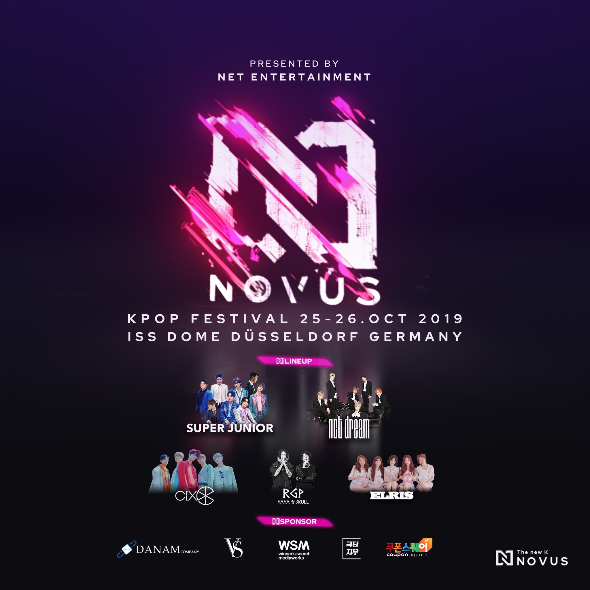 novus kpop, kpop lineup, germany, kpop concert, cix, nct dream, super junior, elris, haha, skull