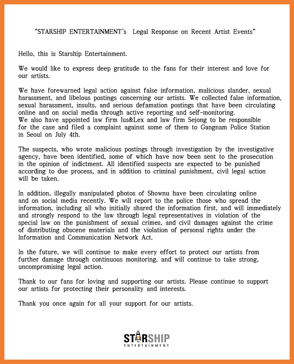 STARSHIP ENTERTAINMENT's Legal Response on Recent Artist Events | From STARSHIP