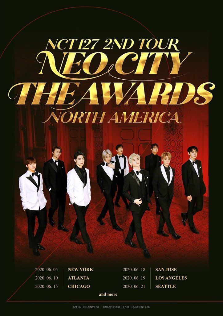 """NCT 127 2nd Tour Neo City """"The Awards"""" North America: Cities And Ticket Details"""