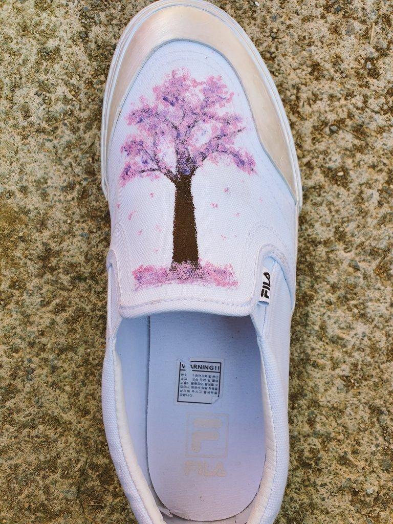Check Out The Custom Artwork On FILA Shoes J-Hope & JiMin Made