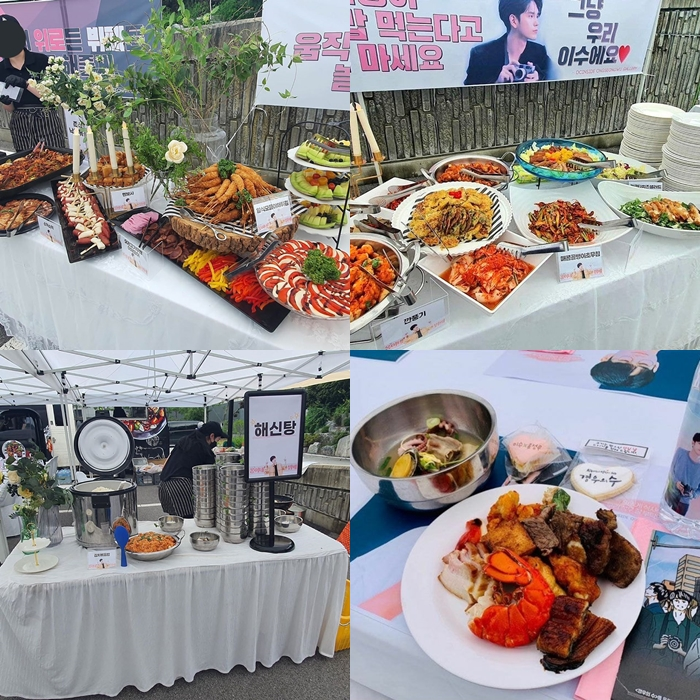 """Large Scale Of Food Support By Ong SeongWu's Fans Receives Attention On The Set Of """"More Than Friends"""""""