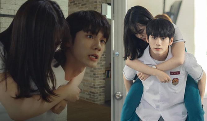 """Ong SeongWu Gives Shin YeEun A Sweet Piggyback Ride In """"More Than Friends"""""""