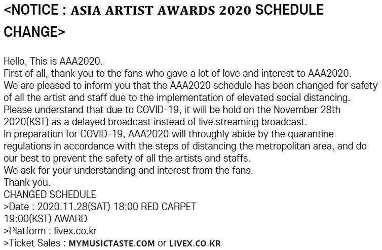 [UPDATE] Asia Artist Awards (AAA) 2020: Lineup