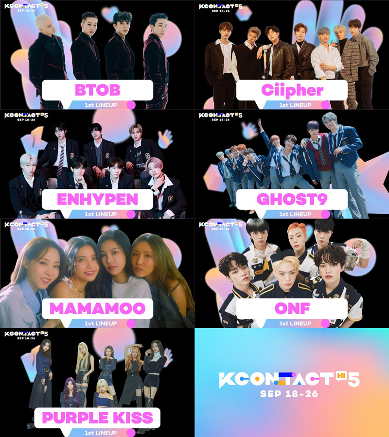 BTOB, Ciipher, ENHYPEN, GHOST9, MAMAMOO, ONF and PURPLE KISS Are All Confirmed To Join 'KCON:TACT HI 5' 1st Lineup